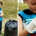 Garoto de 8 anos se incomoda com lixo e decide limpar bairro de São Vicente (SP)