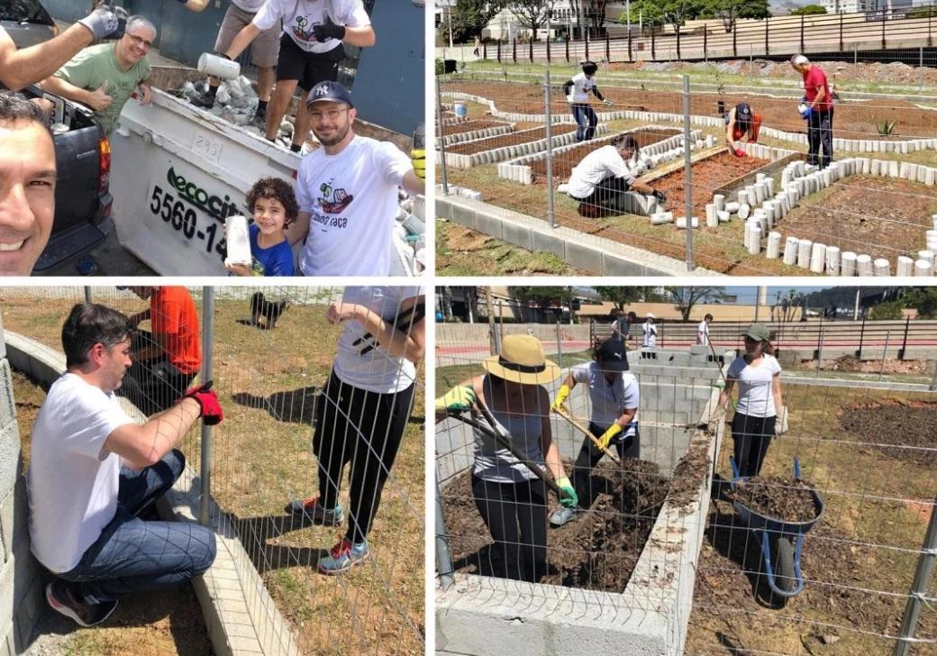 pessoas transformando terreno canteiro praça