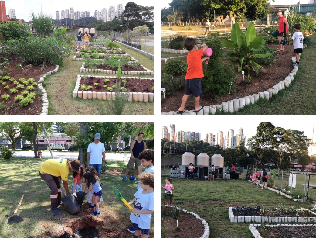 adultos crianças plantando praça