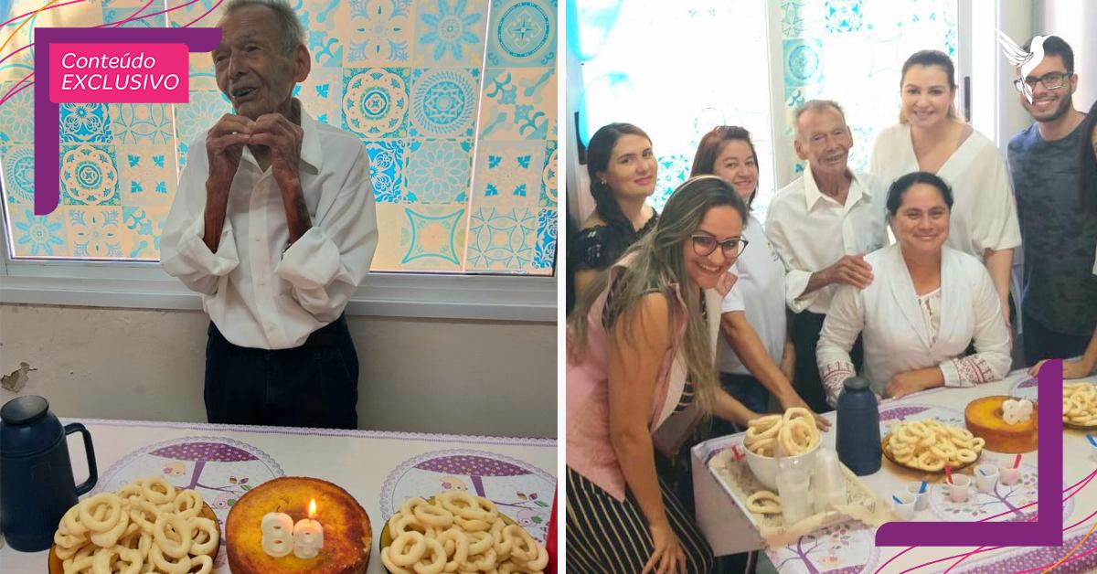 Idoso de 89 anos ganha festa de aniversário surpresa de enfermeiras em Goiás