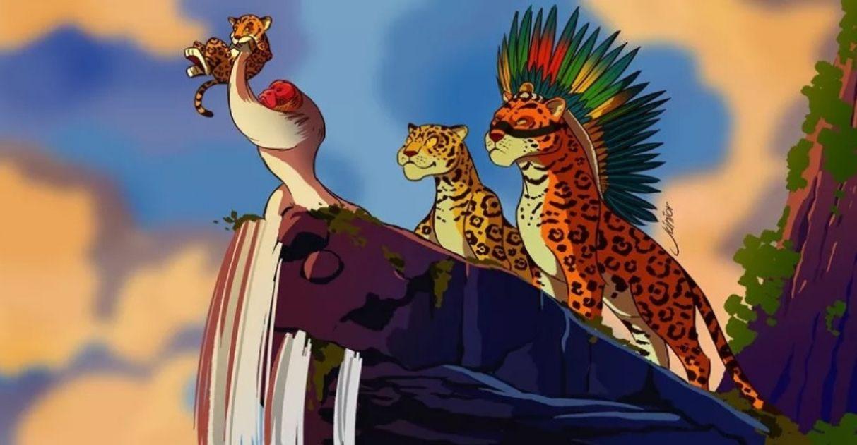 onças macaco reproduzindo cena o rei leão