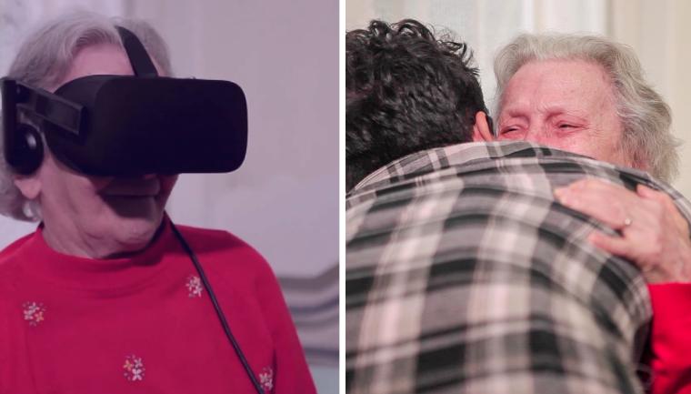 idosa usando óculos realidade virtual tecnologia intel
