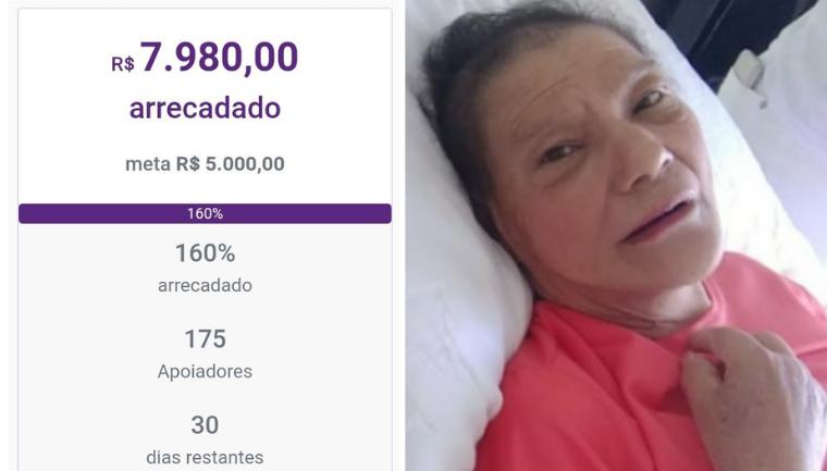 bate meta vaquinha ajudar idosa cancer abandonada hospital