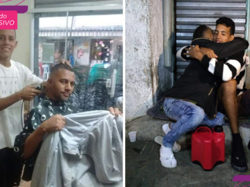 jovem cortes cabelo troca agasalhos para moradores de rua