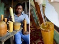 Indiano cria garrafas água ecológicas prova vazamentos feitas bambu