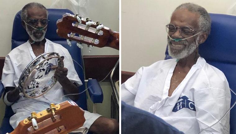 Idoso com câncer internado há meses ganha roda de samba no hospital 3