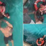 Homens resgatam mulher em cadeira de rodas que caiu de navio cruzeiro