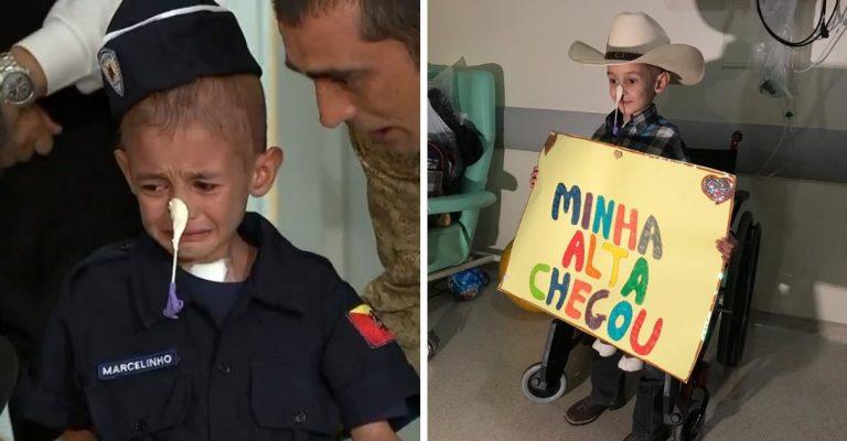 Desenganado pelos médicos, menino com leucemia chora ao receber alta 1