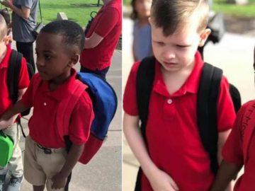 Menino vê colega autista chorando no primeiro dia de aula e segura sua mão para acalmá-lo 1