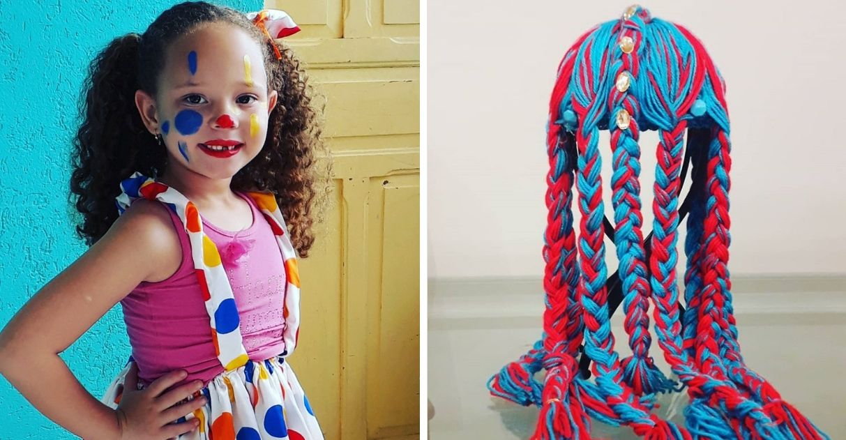 Menina festa doação perucas crianças câncer