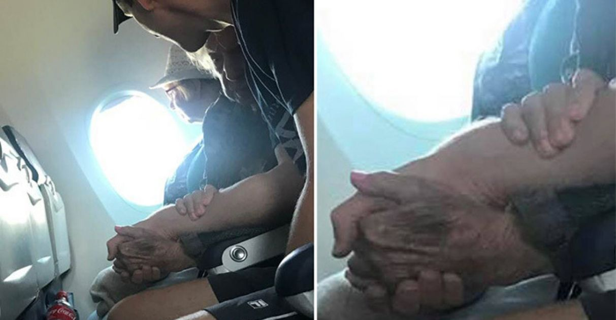 """Rapaz conforta idosa de 96 anos que estava apavorada em voar: """"meu anjo da guarda"""""""