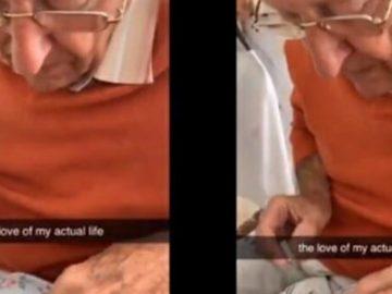 Vovô pinta unha neta enquanto ela recupera cirurgia