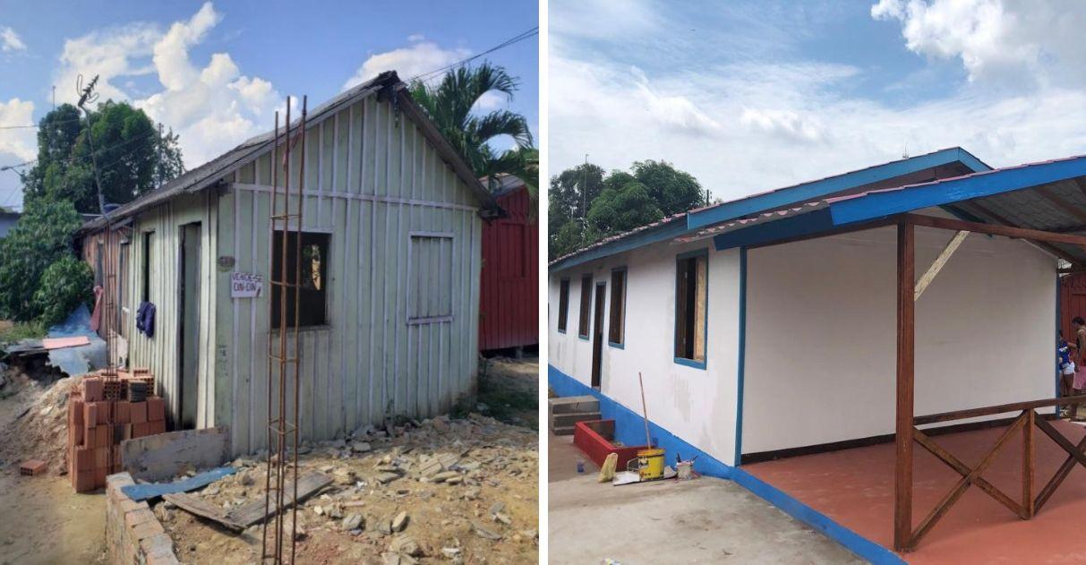 Casa de família carente foi totalmente reformada apenas com materiais recicláveis