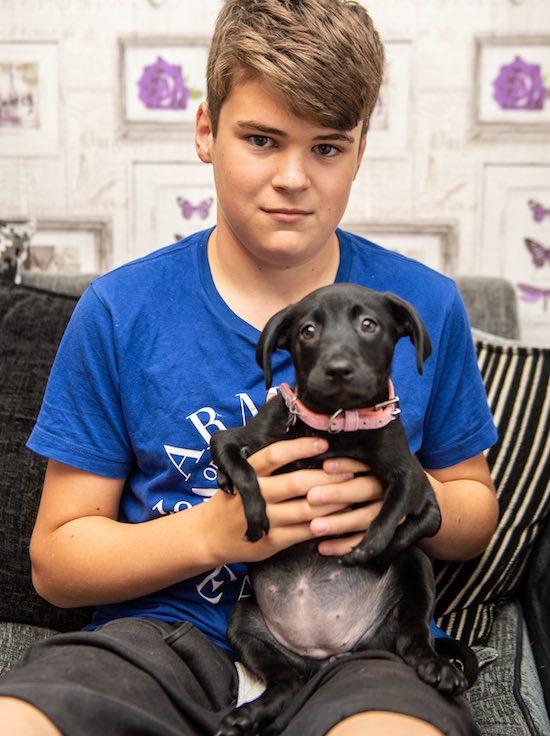 Cachorrinha 6 patas adotada menino psoríase