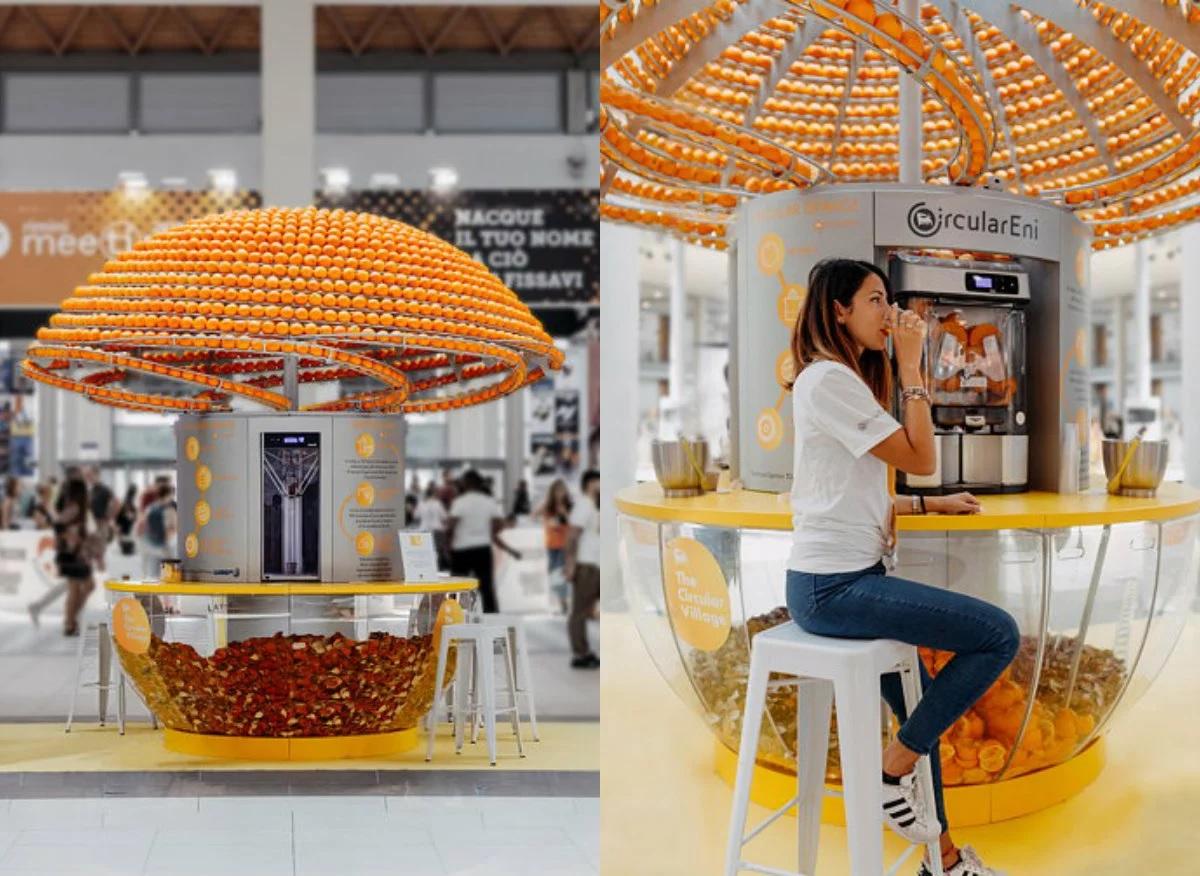 Máquina suco e imprime copos cascas laranja