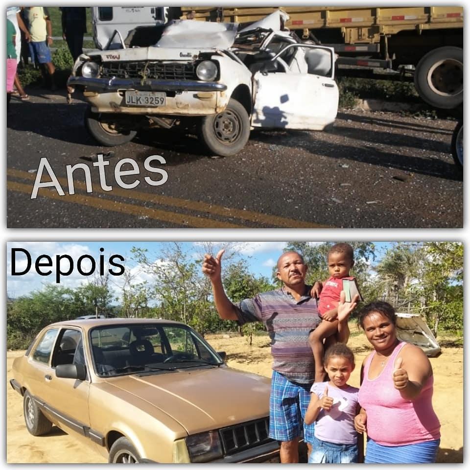 montagem antes e depois do carro destruído de Cecílio e o veículo que ele ganhou de presente