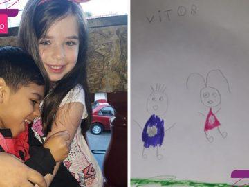 """Garotinha inclui amigo com paralisia cerebral em desenho da família: """"Eles se entendem no olhar"""" 4"""