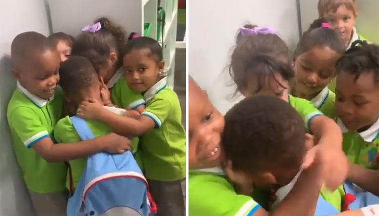 Menino que sobreviveu ao furacão Dorian é recebido com abraço coletivo de colegas 2