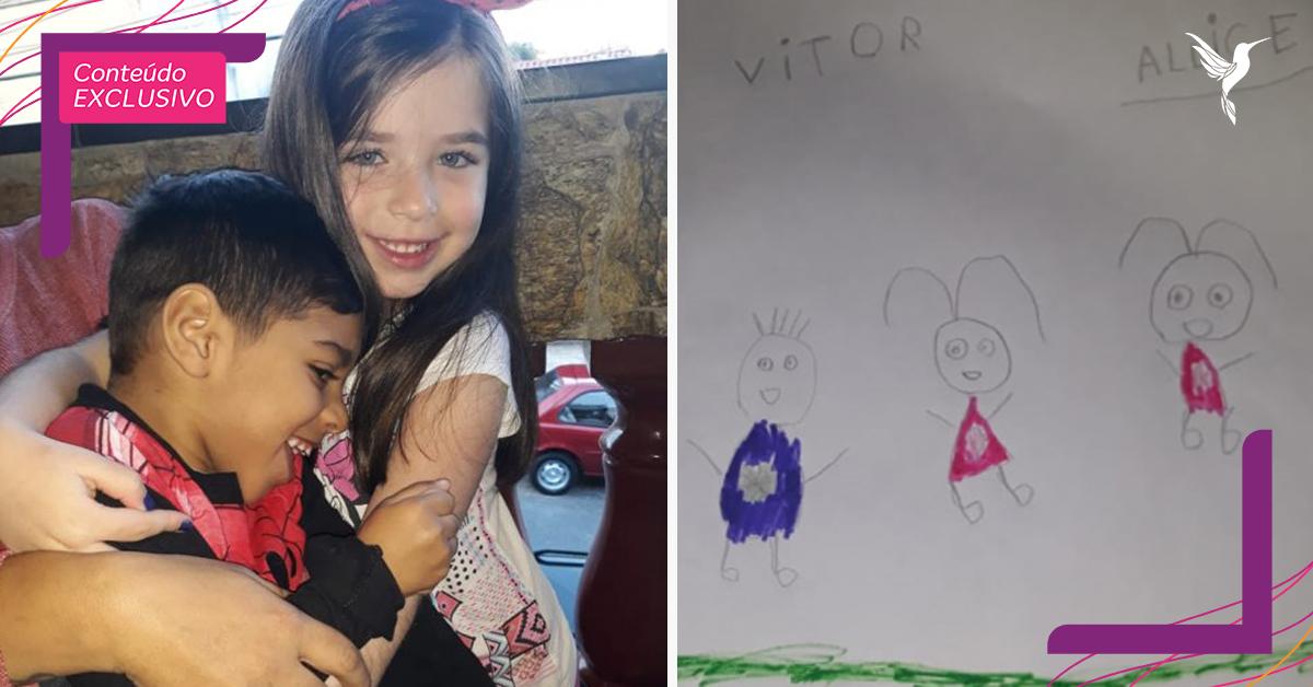"""Garotinha inclui amigo com paralisia cerebral em desenho da família: """"Eles se entendem no olhar"""" 2"""
