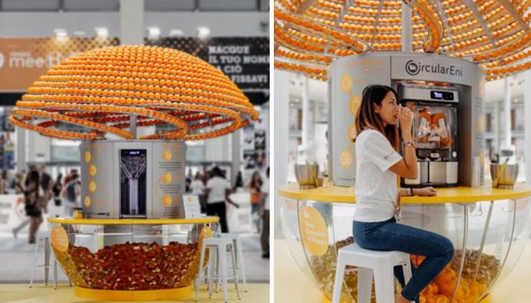 Máquina revolucionária faz suco e 'imprime' copos 3D feitos com cascas de laranja 2