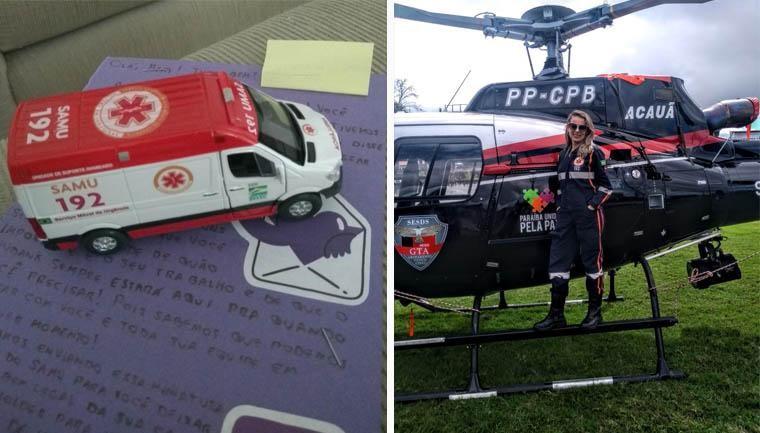 enfermeira subindo helicóptero samu
