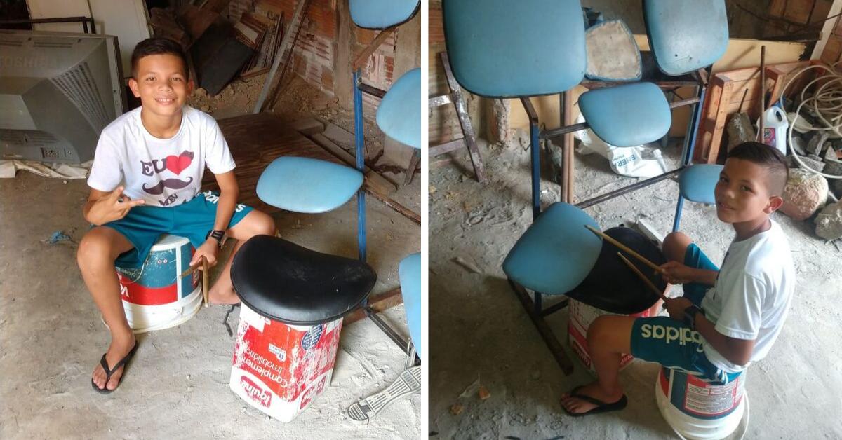 Pai faz bateria improvisada para o filho e internautas lançam vaquinha para ajudá-lo