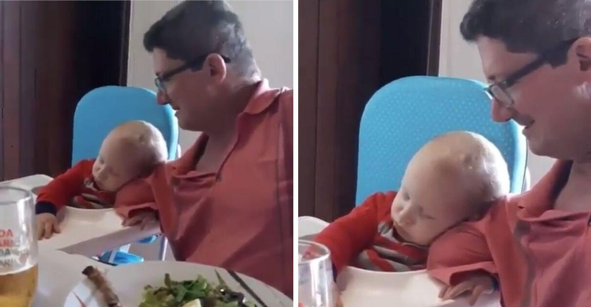 Bebê dorme ombro avô braço amputado vídeo