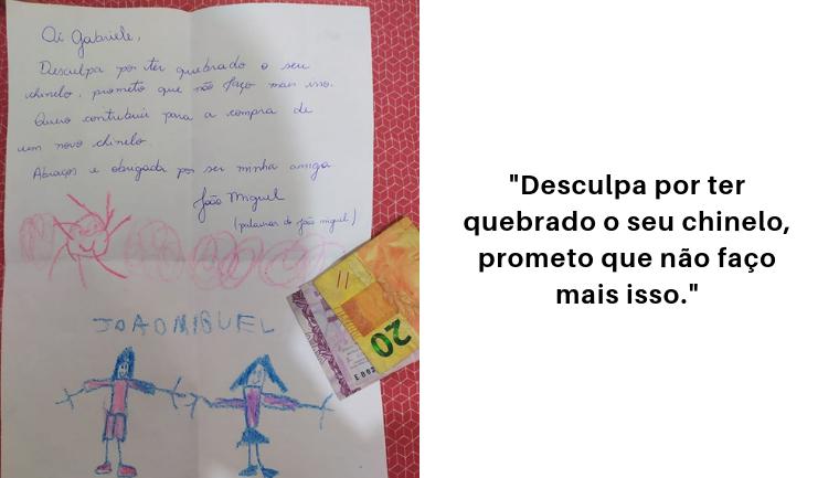 Após quebrar chinelo de amiga sem querer, menino manda carta fofinha pedindo desculpas 2