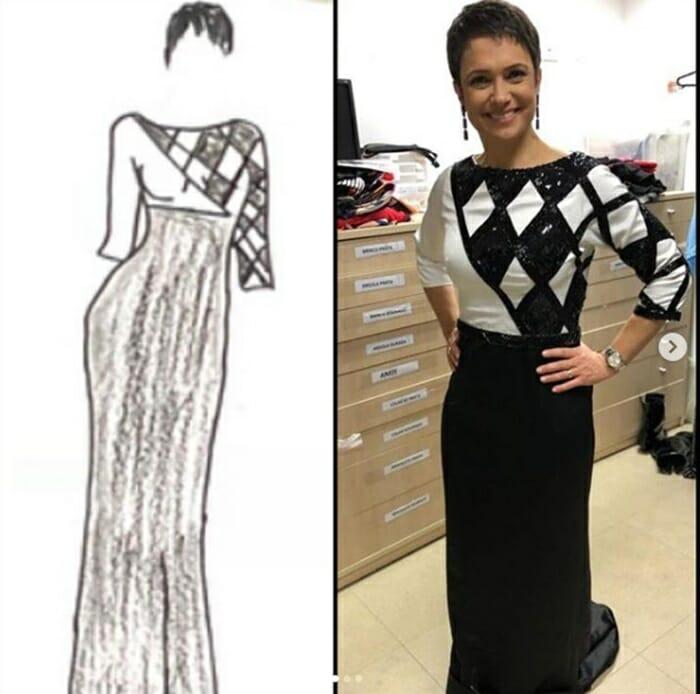 Sandra Annenberg posa com vestido desenhado por um autista