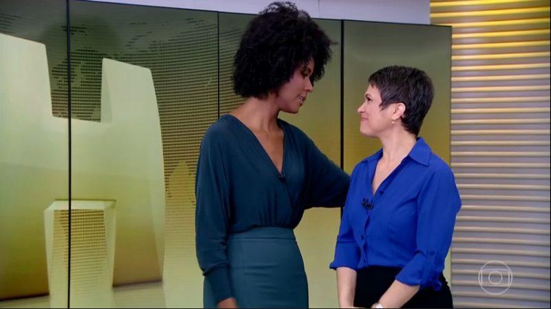 Maju Coutinho é recepcionada pela Sandra Annenberg no Jornal Hoje
