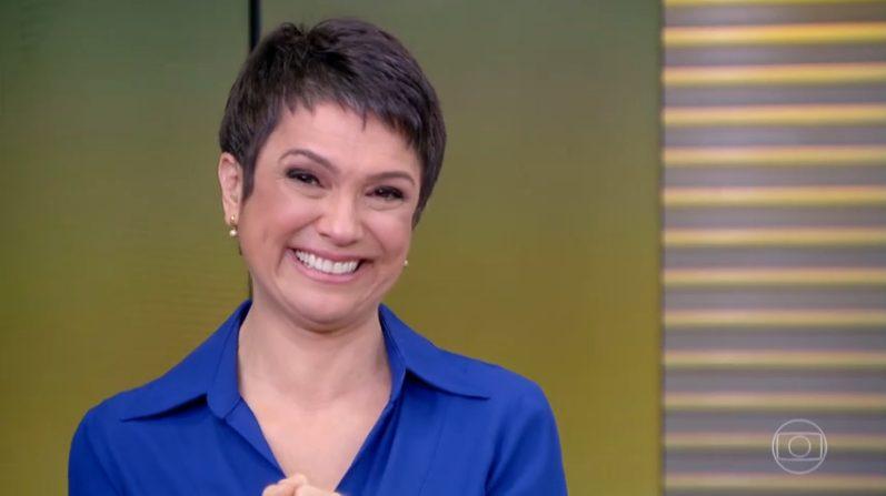 Sandra Annenberg fica emocionada ao dar o seu último boa tarde no Jornal Hoje
