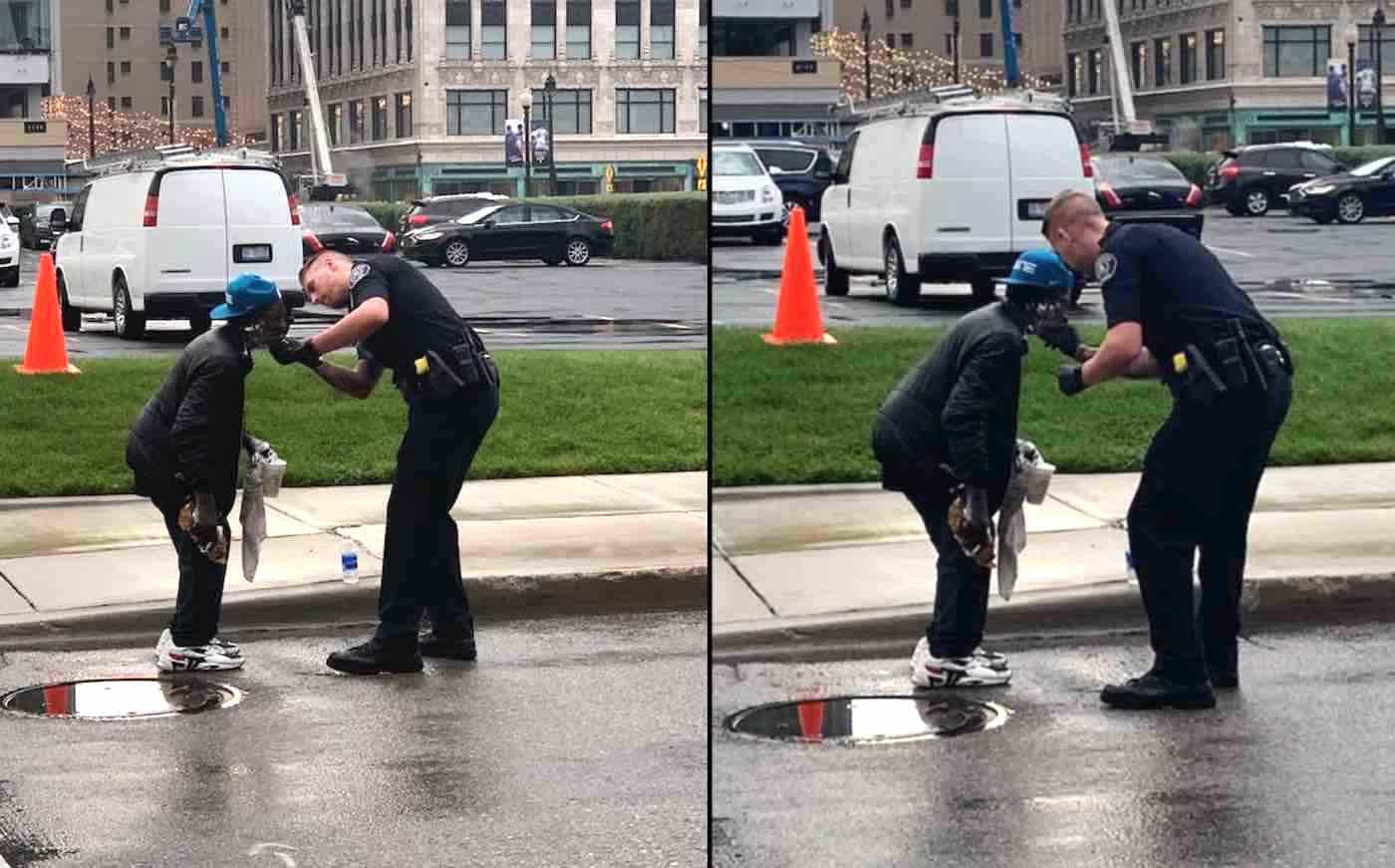 Policial faz barba de morador de rua