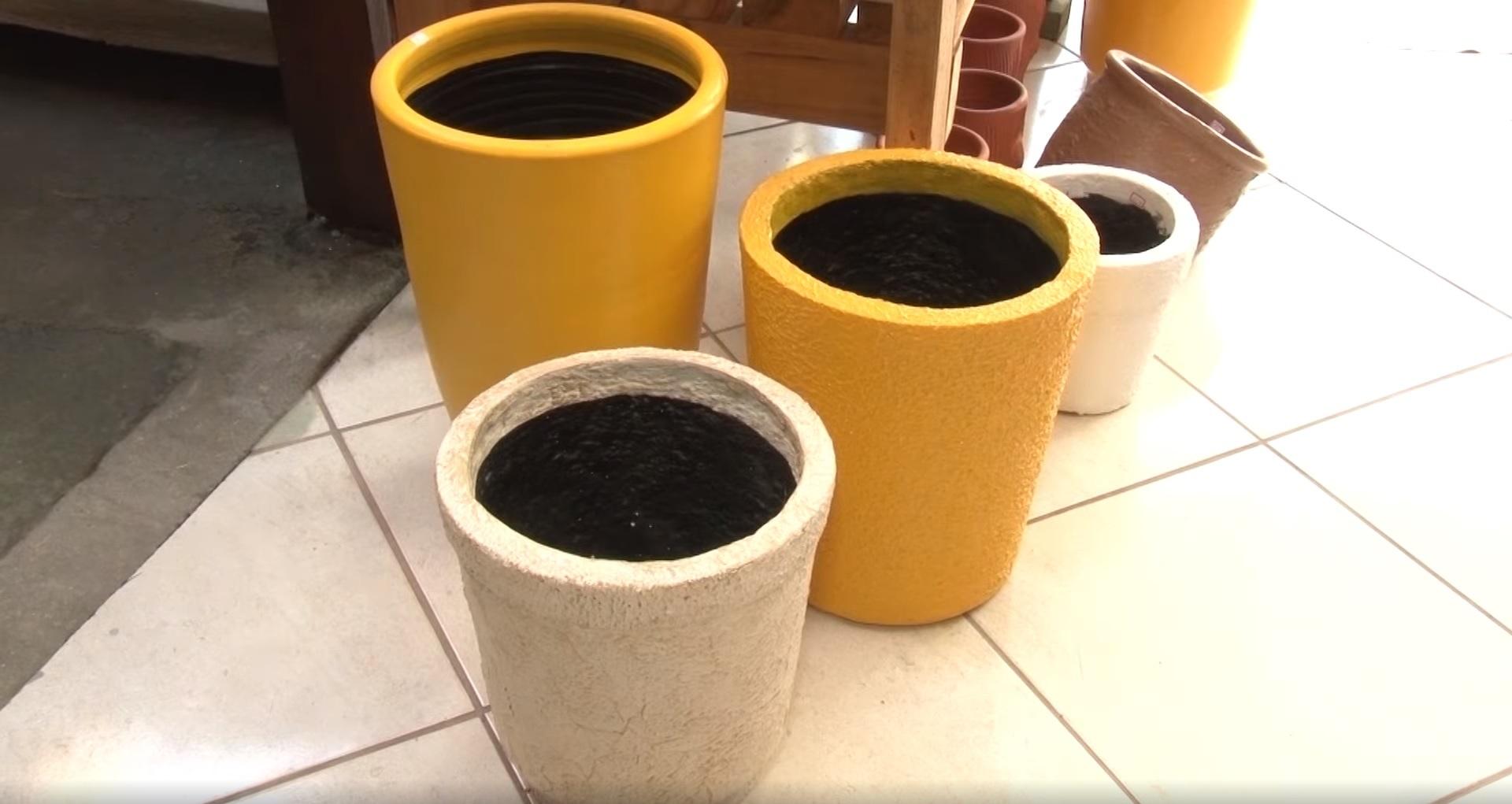 vasos artesanais feitos isopor