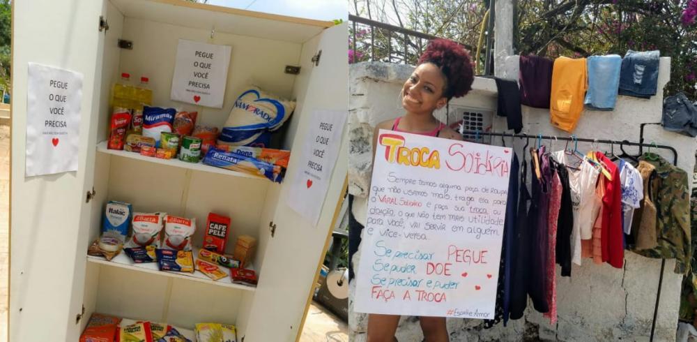 varal solidário doação de roupas alimentos cotia