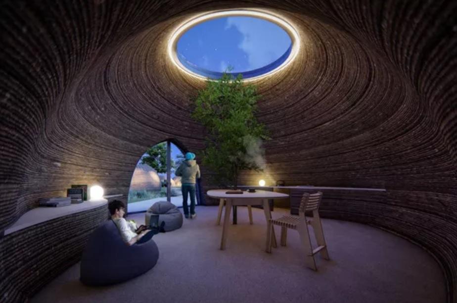 casa sustentável impressa 3D feita com argila