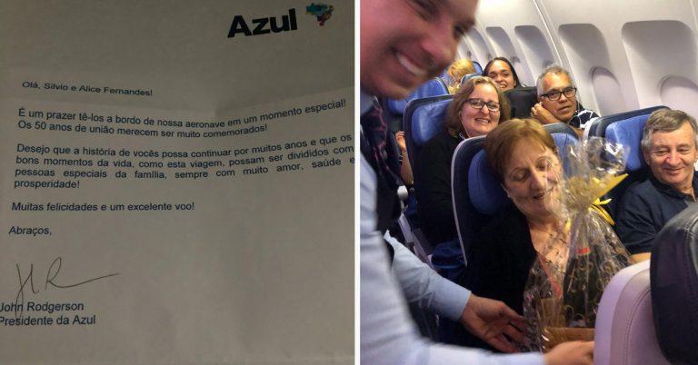 Azul faz homenagem a casal que completou 50 anos de união em pleno voo 1