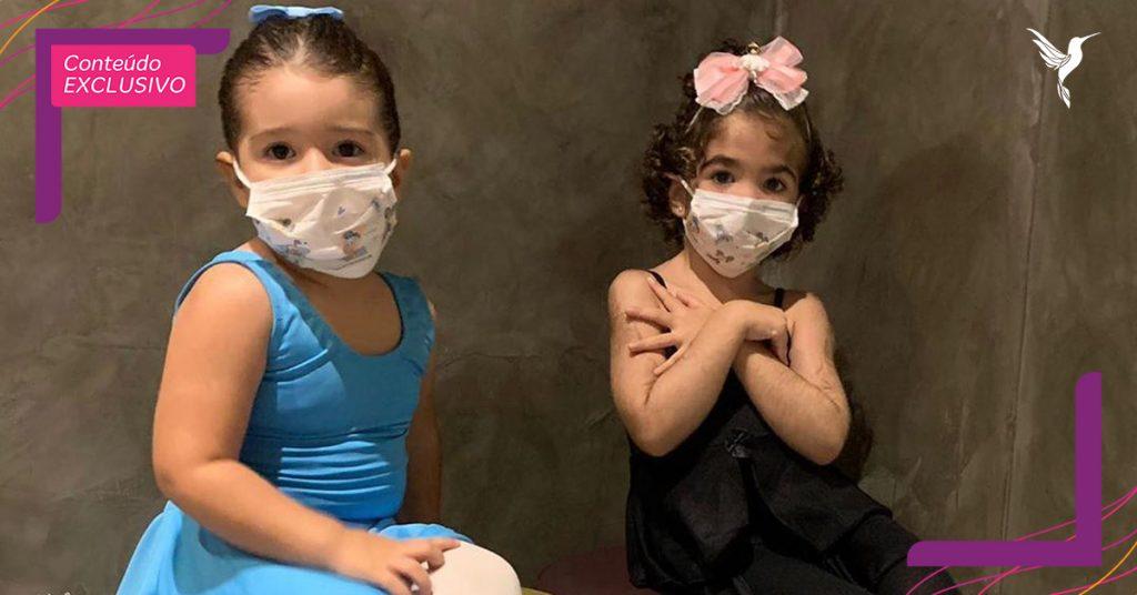Dia das crianças bailarinas usando máscara