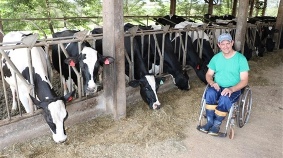 Agricultor cadeirante quadruplica produção leiteira