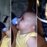 Pai viraliza ao colocar foto da esposa no rosto e mamadeira em sutiã para 'amamentar' o filho 3