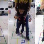 Menina com paralisia cerebral realiza sonho de 'pular amarelinha'; veja vídeo 1