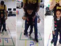 Menina com paralisia cerebral realiza sonho de 'pular amarelinha'; veja vídeo 13