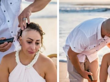 Em 'ritual' na praia, mulher com câncer de mama raspa a cabeça e emociona internautas 1
