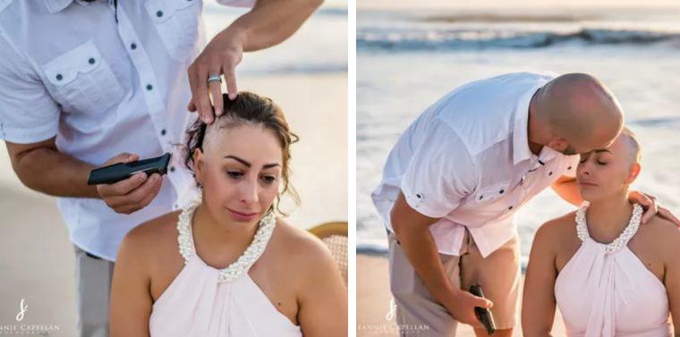 Em 'ritual' na praia, mulher com câncer de mama raspa a cabeça e emociona internautas 25