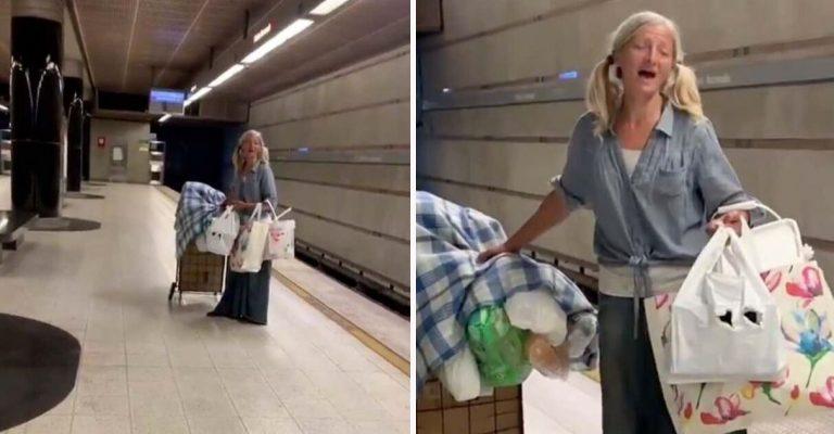 Policial grava vídeo de tirar o fôlego de mulher sem-teto cantando ópera no metrô 1