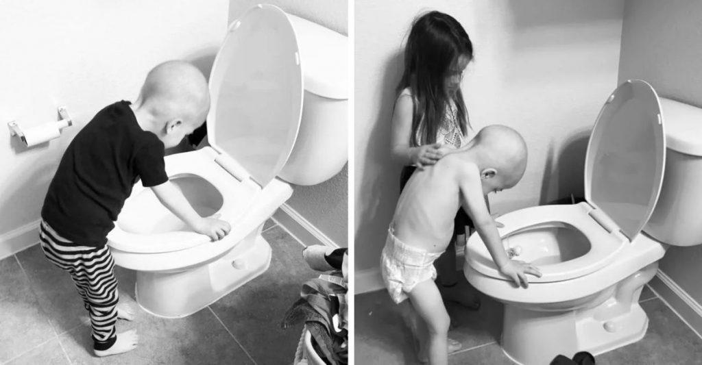 Dia das crianças menina massageia costas irmão vomitando banheiro