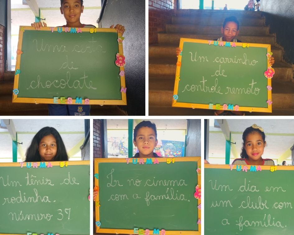 alunos fazem pedidos simples para Dia das Crianças