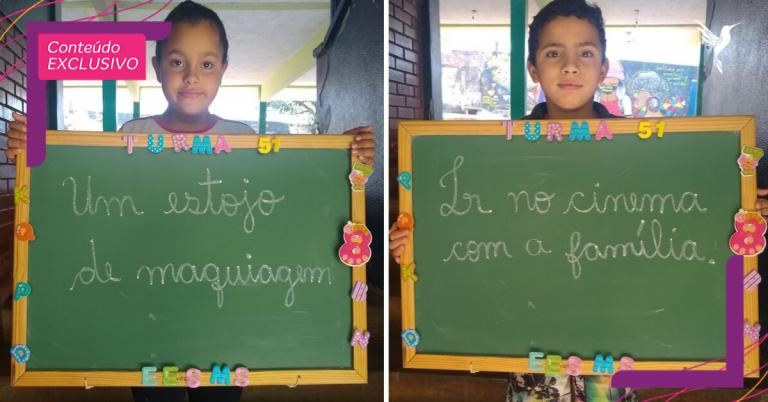 Alunos fazem pedidos simples em campanha para o Dia das Crianças e emocionam