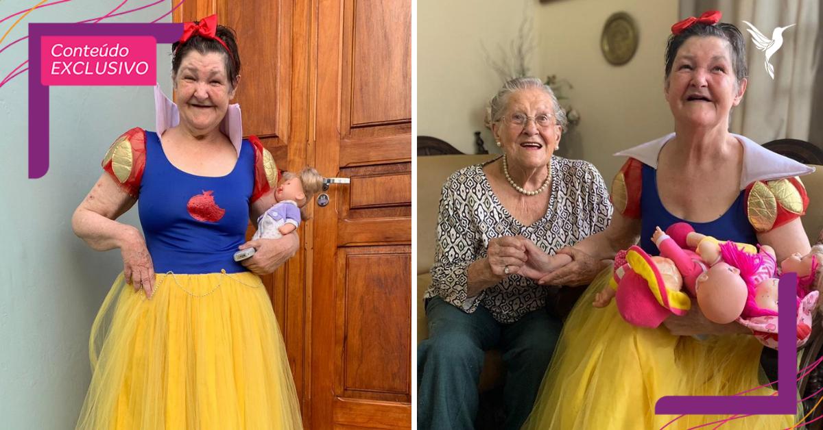 Ao lado da mãe de 96 anos, idosa celebra aniversário vestida de princesa. Que fofura!