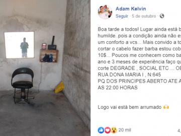 Jovem barbeiro improvisa salão na garagem de casa e recebe apoio de internautas 2
