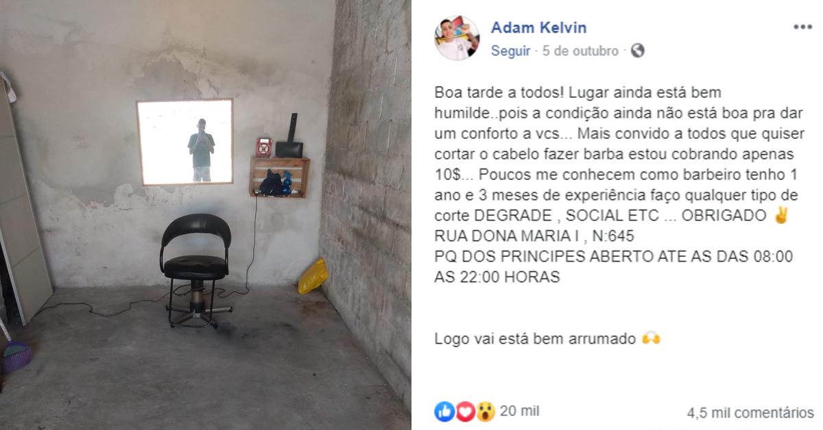 Jovem barbeiro improvisa salão na garagem de casa e recebe apoio de internautas 1
